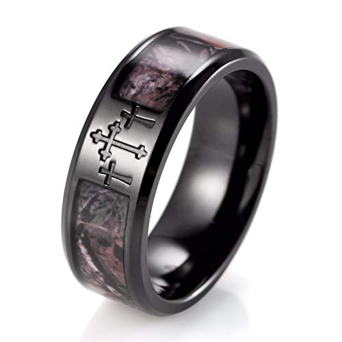 BAVAHA Men's Black Three Cross Camo Ring Titanium Outdoor Camouflage Anniversary Band Wedding Ring for Men-8mm(13)