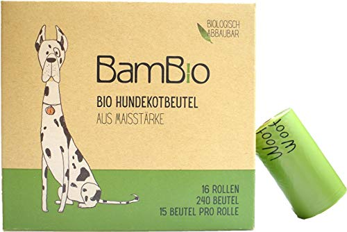 BamBio Bio Hundekotbeutel | 16er Set | 16 Rollen | 240 Beutel | nachhaltige Hundetüte | praktisch verpackte Gassibeutel | feuchtigkeitsbeständig und besonders stabil | leicht abzureißen und handlich
