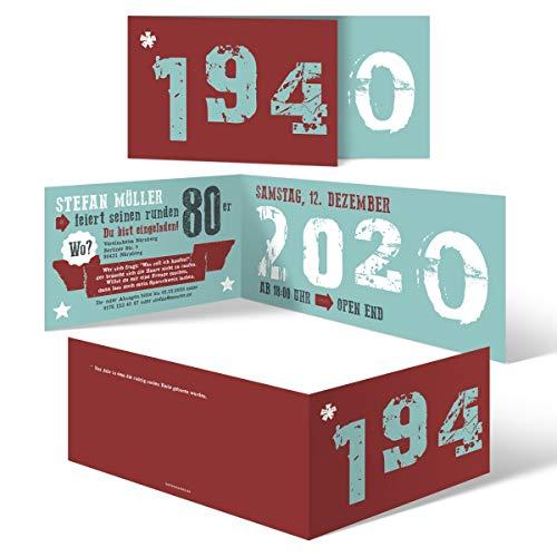 10 x Einladungskarten runder Geburtstag 80 Jahre Geburtstagseinladungen - Retro Geburtsjahr