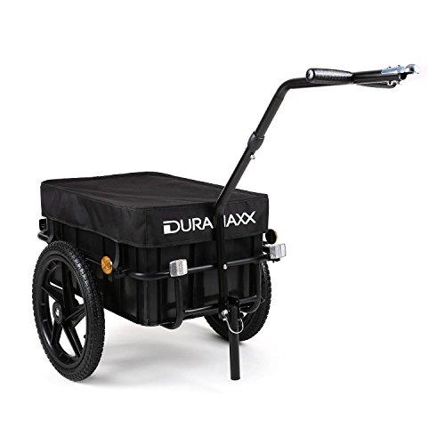Duramaxx Big-Mike - Fahrradanhänger, Lastenanhänger, Handwagen, mit Hochdeichsel, Transportbox mit 70 Liter Volumen, Max. 40kg, Kugel-Kupplung für Fahrräder mit 26'' - 28'', schwarz