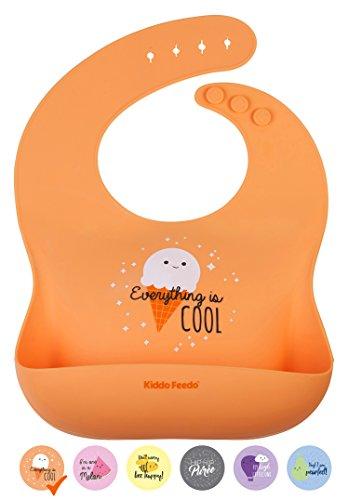 KIDDO FEEDO Aufrollbares Lätzchen für Säugling Baby und Kleinkind -Mahlzeiten mit Tasche – bequem und einfach zu reinigen - Orange