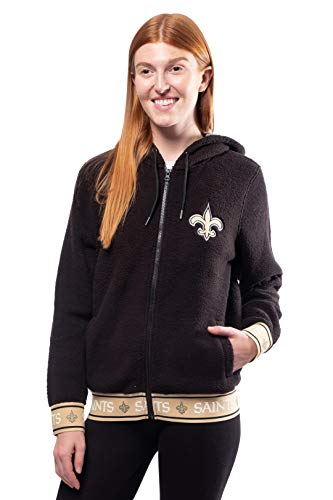 Ultra Game NFL New Orleans Saints Womens Full Zip Sherpa Jersey Hoodie with Team Logo, Team Color, Large