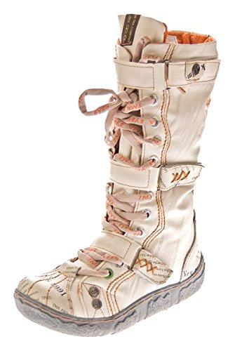 Damen Leder Winter Comfort Stiefel TMA 7086 N Schuhe Weiß-Creme Damenstiefel gefüttert Gr. 36
