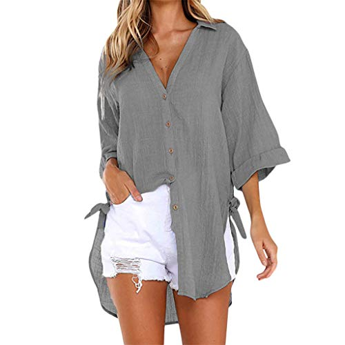 Damen Lose Taste Tops T-Shirt Frauen Mehrfarbig Langes Hemd Beiläufig Etuikleid