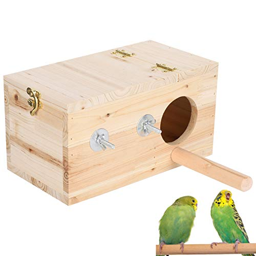 Caja nido para pájaros, casa nido para periquitos, caja nido de madera natural fuerte, casa para pájaros, material de abeto para ardillas