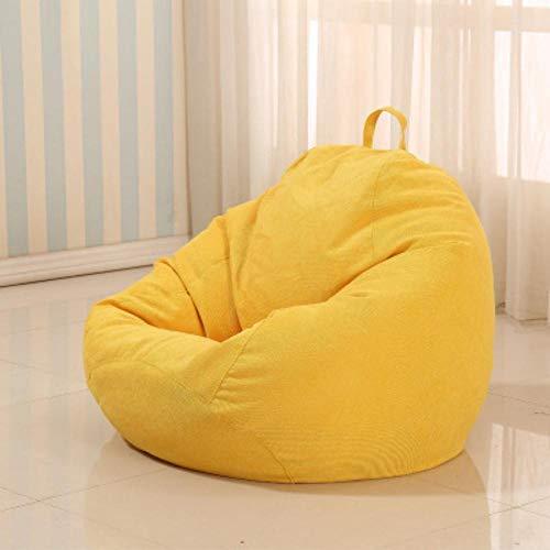 QIROG Lazy zitzak zitzak zitzak sofa afdekking huisdecoratie kleding linnen bed sofa tatami meubilair woonkamer - 80 x 90 _geel