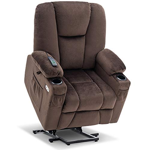 Mcombo Electric Power Lift Recliner Chair with Extended Footrest for Elderly People, 3 Positions, Hand Remote Control, Lumbar Pillow, 2 Cup Holders, USB Ports, 2 Side Pockets, Fabric 7507 (Brown)