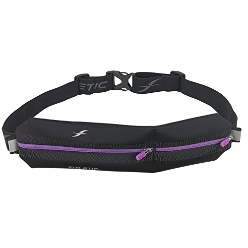 Fitletic Jogging Belt | Patented Zero Bounce Technology for Running, Jogging, Walking, Cycling, Workout, Travel | N02-07 Neo II Double Pouch Sports Fanny Pack, Black & Purple