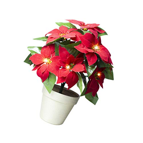FRCOLOR Red Poinsettia Plant LED Lighted Artificial Potted Poinsettia Flower Christmas Poinsettia Plant for Holiday Party Centerpiece Table Decor