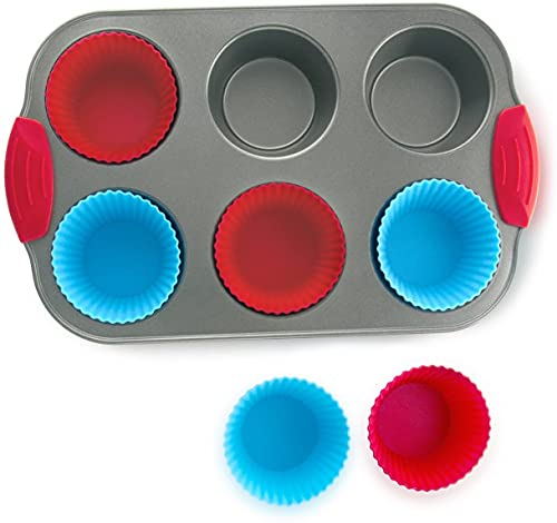 Nonstick Bakeware 6-Cup Muffin Pan with Silicone Cupcake Liners
