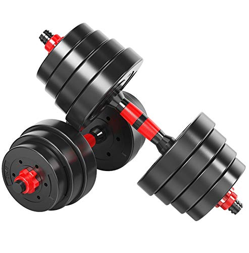 YUESFZ Hanteln Dumbbell Stilles Hantelset Für Den Haushalt Multifunktionale Indoor-Fitnessgeräte Verstellbare Langhantel 10 Kg, 15 Kg, 20 Kg, 30 Kg, 40 Kg (Color : Black+Red, Size : 20kg)