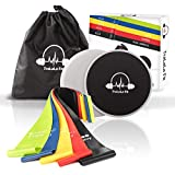 TraLaLa Fit Resistance Loop Exercise Bands and Sliders Set - Fitness Mini Loops and Gliding Discs - Strength Training and Physical Therapy - Workout Bands for Home Crossfit Travel Fitness Abs Legs