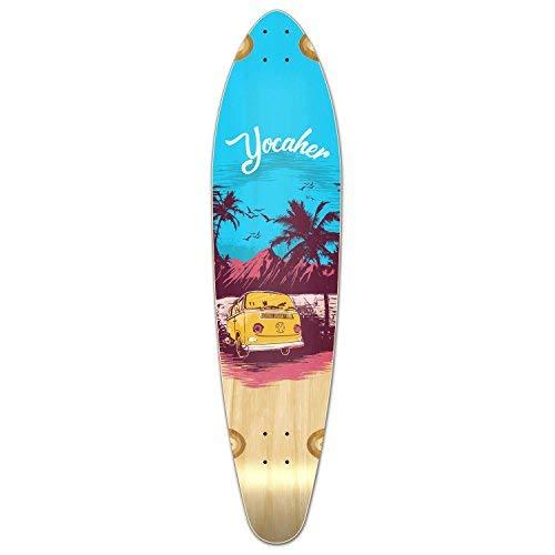 Yocaher VW Vibe Beach Series Skateboard Longboard Kicktail Deck Only – Blue