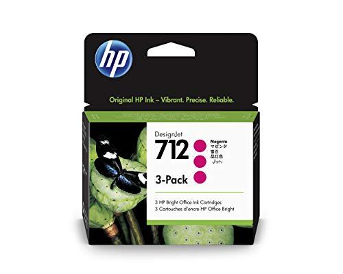 HP 712 3ED78A Magenta, Paquete de 3 Cartuchos de Tinta Original HP, de 29ml, para Impresoras Plotter de Gran Formato HP DesignJet Series T650, T630, T250, T230 y Studio y Cabezal de Impresión HP 713