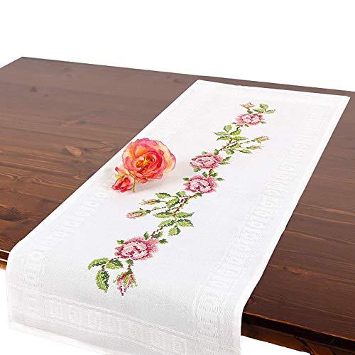 Stickpackung ROSA Rosen, komplettes vorgezeichnetes Kreuzstich Tischdecken Set, Sommer Tischläufer Stickset mit Stickvorlage zum Selbersticken