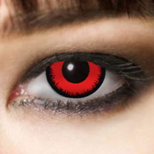 farbige Kontaktlinse rot ohne Sehstärke 3 M Halloween Kontaktlinsen Zombielinse, Vampir Make up Vampir Schminke