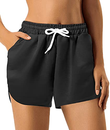 GROTEEN Workout Shorts for Women Elastic Waist Casual Athletic Short Pants for Summer (Black, X-Large)