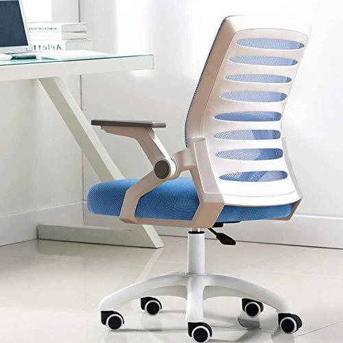 Silla de oficina Silla de escritorio Silla de computadora Silla ergonómica de oficina Rolling giratorio, silla de escritorio de altura ajustable con ruedas y reposabrazos de flip-up, silla ejecutiva d