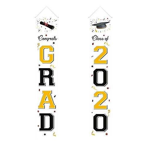 US Warehouse - Banners, Streamers & Confetti - Graduation Banners 2020 Congrats Graduation Party Decorations Supplies - Hanging Garland Banners Bunting Paper String Banners - (Color: Multi)