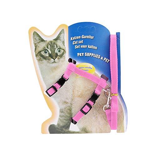 Icecode Katzengeschirr Kätzchenleine Nylon Gurt Gürtel Leine verstellbar Set Kätzchengurt (Pink)