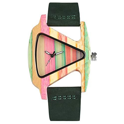 IOMLOP Reloj de Madera Triángulo único Reloj de Madera Hueco Reloj Creativo de bambú con Rayas Coloridas Hora de Las Mujeres Reloj de Pulsera de Cuero de Moda para Mujer, Verde