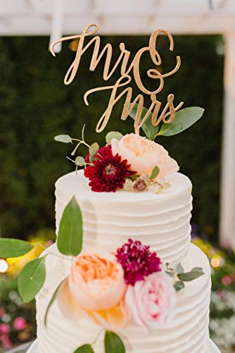 Mr and mrs cake topper, Laser cut wood cake topper, wedding cake topper, mr mrs sign, wedding cake topper, calligraphy, gold topper