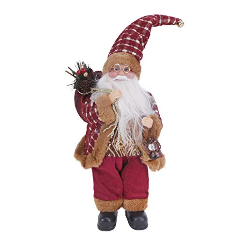 Merry Christmas Decoration Animated Musical Santa Claus Elk Figurine LED Glowing Soft Plush Stuffed Doll Singing Christmas Puppet Toy Fireplace Home Desktop Decorations Ornament Kids (Wine Red)