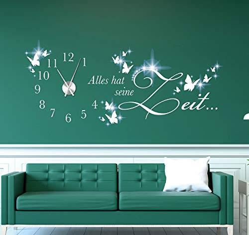tjapalo® pkm510 Wanduhr Wohnzimmer Wandtattoo Uhr Sprüche Zitate Wandspruch Alles hat seine Zeit mit Uhrwerk Wandaufkleber, Größe: B140xH54cm (+Uhrwerk silber), Farbe: weiß