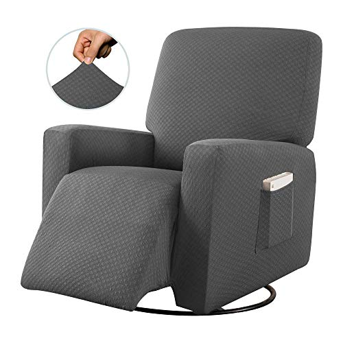 Sapphire Home Recliner Chair SlipCover Shield, Form-fit Stretch, Wrinkle Free, Furniture Protector, Remote Pocket, Polyester Spandex Fabric, Solid Non-Slip, Diamond Pattern, Rec Light Gray