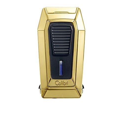 Colibri Quantum Triple Jet Flame Gold & Schwarz Cigar Feuerzeug mit V-einkerbung Cutter