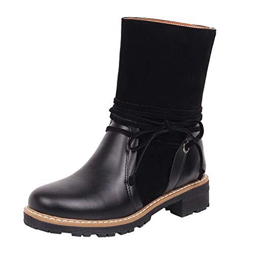 Stivali Donna Invernali Stivaletti Boots Foderati Caldi Scarpe Eleganti Comodi Moda Bottes Femmes Style Britannique Grande Taille À Lacets Hiver Moto Bottes De Neige (38,Nero)