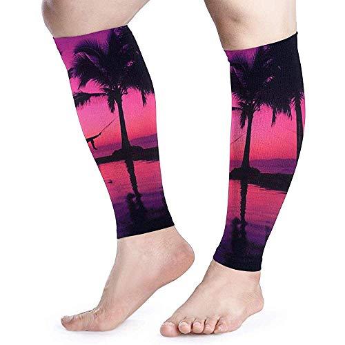 Strand Paars Zonsondergang Behang Kalf Compressie Mouw Mannen Womens Hardlopen Been Mouw voor Shin Splint Spier Pijn Relief