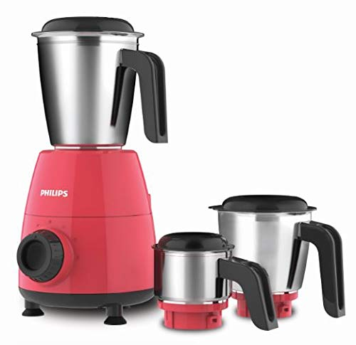Philips HL7505/02 500-Watt Mixer Grinder with 3 Jars (Red)- Dry jar, Chutney...