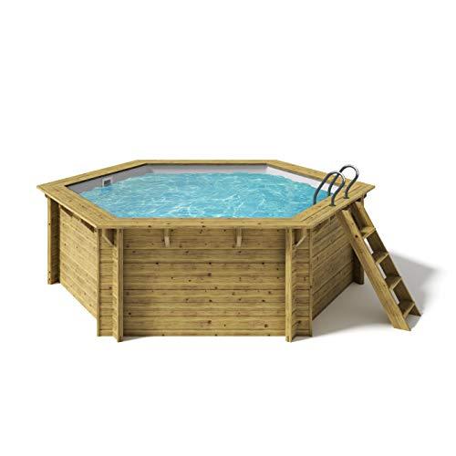 Paradies Pool® Holzpool Lani Komplettset inkl. Filteranlage, Scheinwerfer LED weiß, Folie grau mit 0,8mm Stärke, Sechseck-Pool, 421 x 118 (Ø x H), Menge: 1 Stück