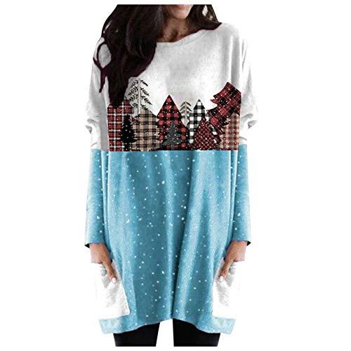 Lazzboy Pullover Damen Weihnachten Langarmshirt Plus Size Frauen Pullover Langarm...