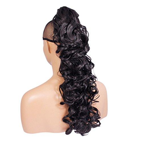 Elegant Hair - 56 cm / 22 pouces queue de cheval frisé – Brun le plus foncé #2 - Clip-in pièce de extensions de cheveux réversible - Avec griffe-clip - 30 Couleurs - 250g