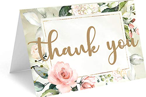 Red Door Inspirations Elegant Floral 4x6 Thank You Cards and Envelopes, 25 Count, Perfect for Wedding Showers, Weddings, Baby Showers, Birthdays, Funerals, Teacher Appreciation, Graduation, First Responder Gratitude, House Warmings, or any other reason for saying Thanks