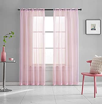 Pink Sheer Voile Curtains Translucent Solid Color Window Treatment 84 Inches Long Panels Rod Pocket Baby Pink Sheers for Bedroom Girls 2 Panels Set 52x84