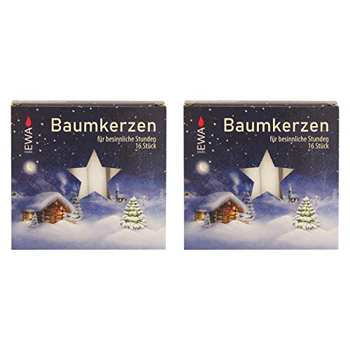 OLShop AG 2er Pack Baumkerzen weiß ca. 14 x 110 mm (2 x 16 Stück) Weihnachtskerzen, Christbaumkerzen, Pyramidenkerzen