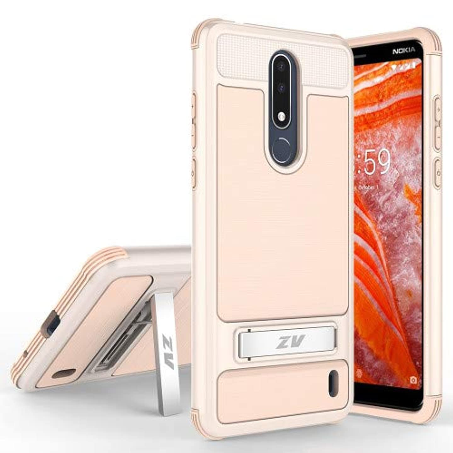 Phonelicious Cricket Nokia 3.1 Plus Case with Stand Heavy Duty Rugged Slim Durable Hybrid Dual Layer Shockproof Phone Cover Compatible with Nokia 3.1+ (Rose Gold)