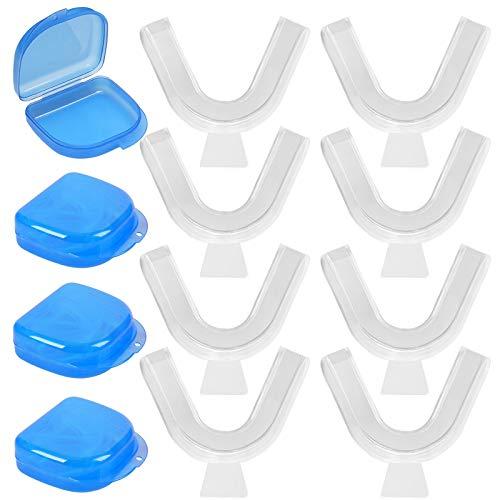 8 Stück Mundschutz für Zähneknirschen, professionelles Zahnknirschen, Nachtschutz, Anti-Zahnknirsch-Schiene, Zahnaufhellungs-Set, Anti-Schnarchen für Schlaf-Zähne, mit 4 Stück Aufbewahrungsbox