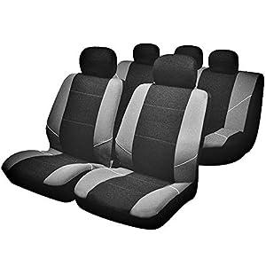 Sakura BY0802 - Juego de fundas para asientos de coche, color plateado y negro