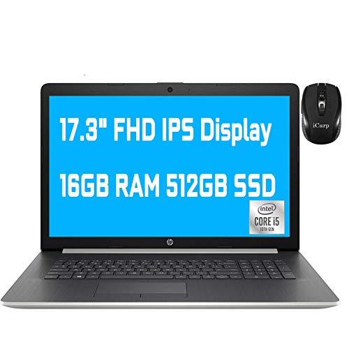 """2020 Premium HP 17 Laptop Computer 17.3"""" FHD IPS Display 10th Gen Intel Quad-Core i5-1035G1 (Beats i7-8550U) 16GB DDR4 512GB SSD DVD Backlit KB WiFi HDMI Win 10 Pro + iCarp Wireless Mouse"""