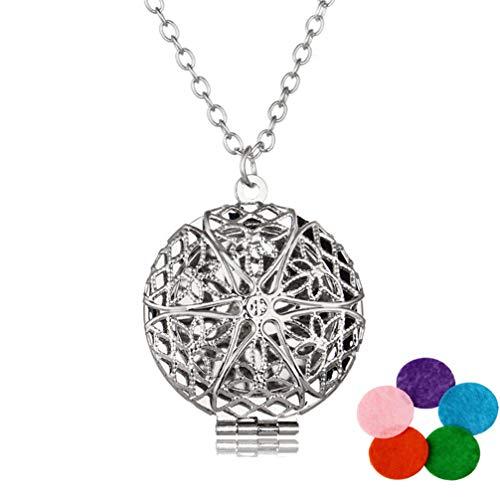 Hemoton Difusor de Aceite Esencial Collar de Plata Medallón Hueco Joyería Colgante de Aromaterapia para Niñas Mujeres con 5 Almohadillas de Color