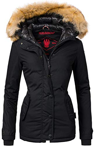 Navahoo Damen Winter Jacke Winterparka Laura Schwarz Gr. L
