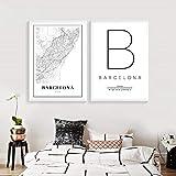 WKAQM Barcelona Mapa Imprimir España España Ciudad Calle Carretera Poster Impresiones Moderno Lienzo Pintura Negro Blanco Cuadros Oficina Pared Arte Decoracion 40 × 50 cm × 2 Sin Marco