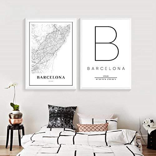 CNHNWJ Barcelona Kaart afdrukken Spanje Espana City Street Road Map Poster Modern Canvas Schilderij zwart wit Afbeelding Office Wall Art Decor (40 x 60 cm x 2 / geen lijst)