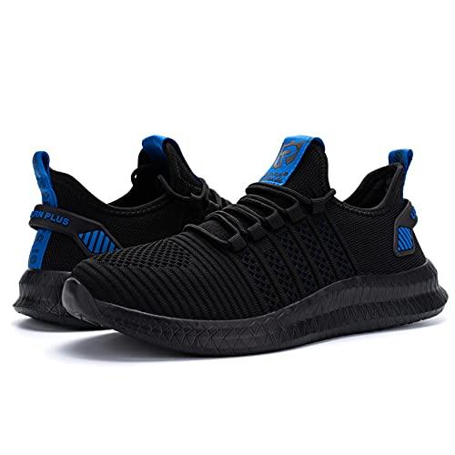 LARNMERN PLUS Herren Straßenlaufschuhe Atmungsaktiv Sneaker Schwarz Blau 42