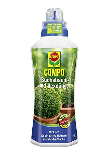 Compo Buchsbaum- und Ilexdünger für alle Buchsbäume auf Balkon, Terrasse und im Garten, Spezial-Flüssigdünger mit extra Eisen, 1 Liter