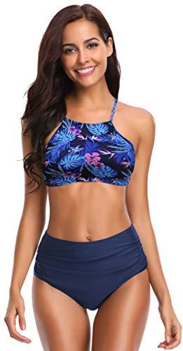 SHEKINI Damen Brazilian Bikini Set Bandeau Push Up Muster Bikini Oberteil Mit High Waist Bikinihose Sport Bademode Geteilter Badeanzug Große Badebekleidung S-XXL (Medium, Rosa Druck)